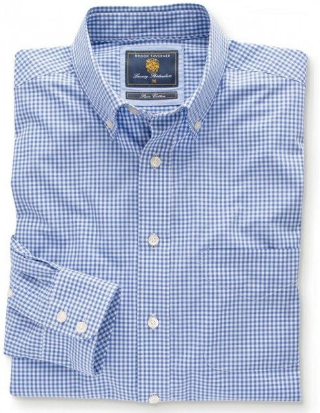 Gingham Shirt Blue Easycare