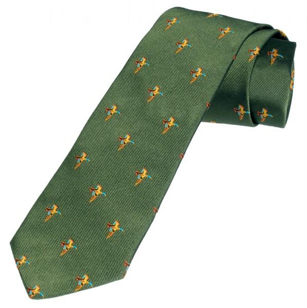 grüne Krawatte für Jäger mit Enten