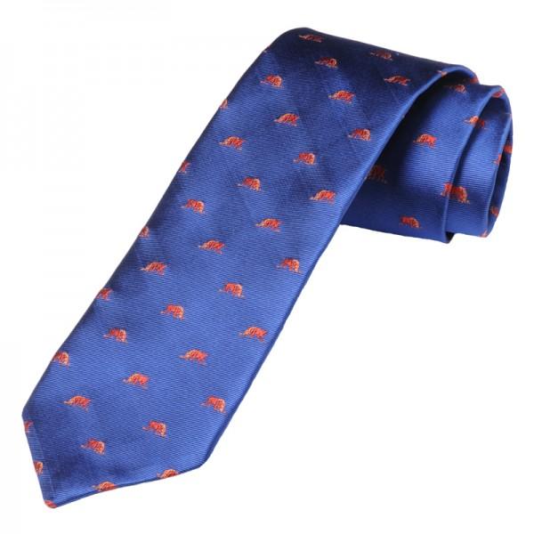 grüne Jagd-Krawatte mit blaue Hasen