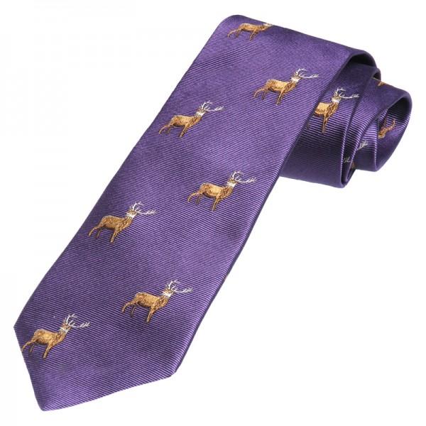 Jagd-Krawatte in purple mit Hirsch