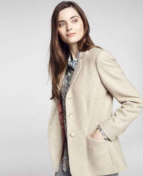 Damen Tweed Blazer Bloomfield in Fawn Herringbone