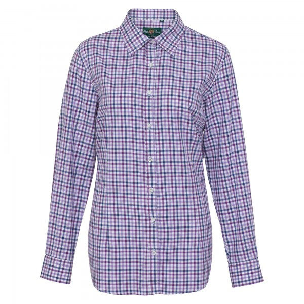 Damen Jagdhemd Countryshirt in Purple Check