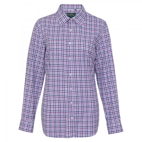 Damen Jagdhemd Countryshirt in Purple Check