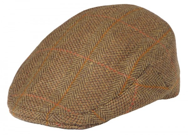 Herren Tweed Cap Curved Peak in Green Check