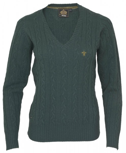 Damen Lambswool Pullover Bampton in Green