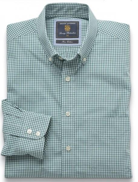 Gingham Shirt Green Easycare